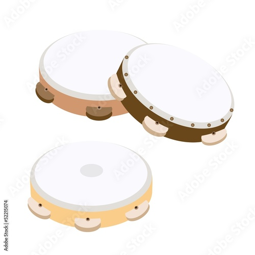Beautiful Three Wooden Tambourine on White Background