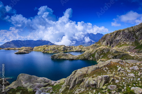 Beautiful glacier lake in the French Alps in summer