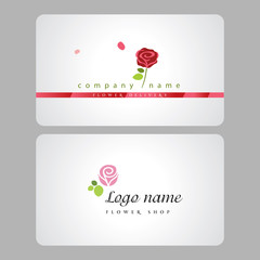 Flower shop logo and cutaway (business card)