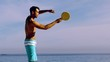 Man playing with racket