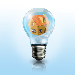 A light bulb with a house inside