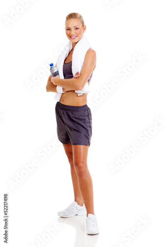 sporty woman posing on white background