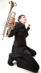 young man joy, glee and his Trumpet
