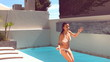 Pretty woman jumping in swimming pool