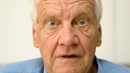 Old man being astonished