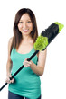 Asian woman with broom