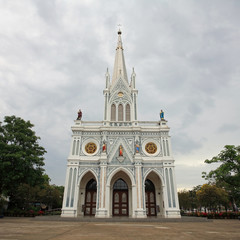 Catholic church during rainy in Thailand
