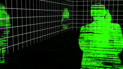Computing animation with green silhouettes