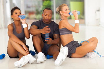 young fit people after exercise