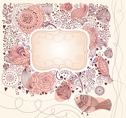 Vector floral background. Wedding invitation