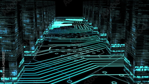 Circuit board corridor with data columns animation