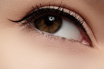 Cosmetics, make-up. Beautiful eye with black liner makeup
