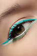 Eye with fashion trend mint colors eyeshadow and eyeliner