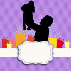 Silhouette of a father holding his child on abstract purple bac