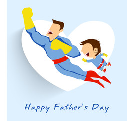 Superhero father and son flying up on white heart shape blue bac