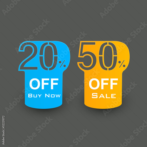 Business promotional badges, stickers, labels or tags with 20% o