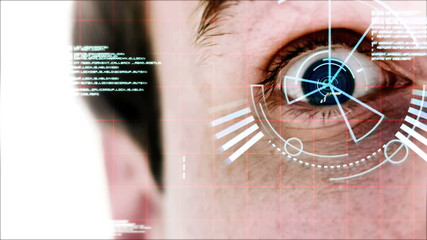 Man opening his eyes being analyzed