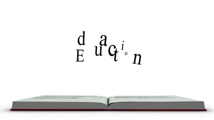 The word education appearing from a red book