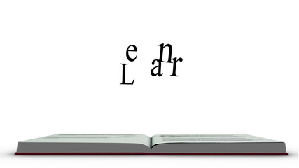 The word learn appearing from a red book
