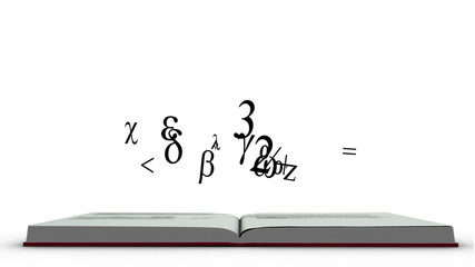 Mathematics formula appearing from a red book
