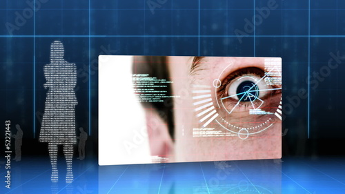 Screens showing eye and hand identification on futuristic interface