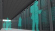 Business people made with binary codes standing together