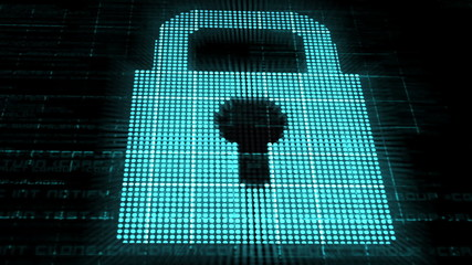 Animation of a glowing padlock