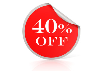 Red round sticker for 40 percent discount