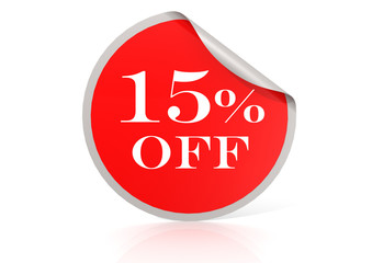 Red round sticker for 15 percent discount