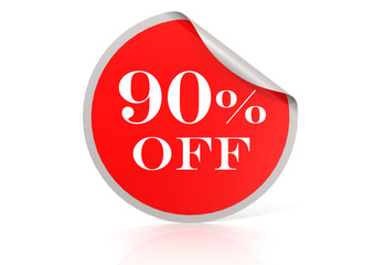 Red round sticker for 90 percent discount