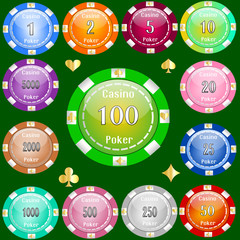 Poker chips of value from 1 to 5000