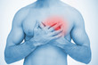 Man touching highlighted chest pain