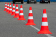Traffic cones on road