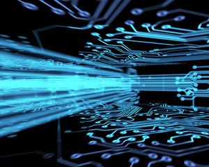 Futuristic circuit board at a bend
