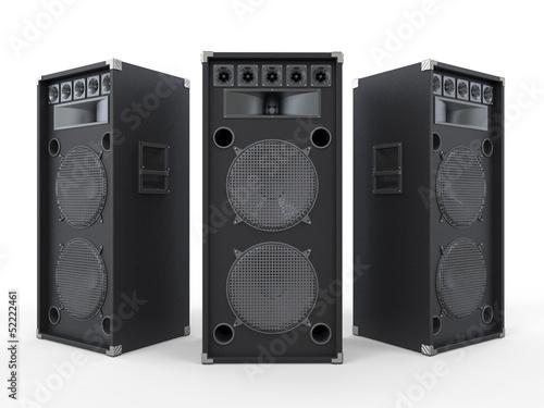 Large Audio Speakers Isolated on White Background
