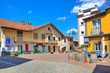 Small plaza in italian town of Barolo.