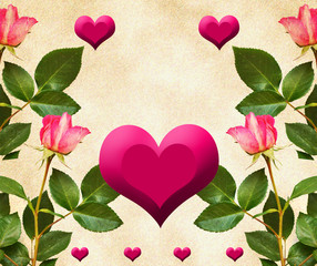 Roses with hearts