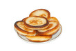thick pancakes osolated on white background