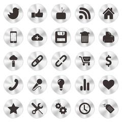 Social Web aluminium Icons