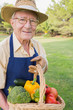 Smiling elderly man carrying basket of vegetables