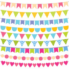 Colorful birthday bunting collection