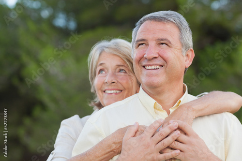 Older couple looking into distance