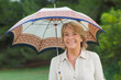 Smiling woman holding umbrella