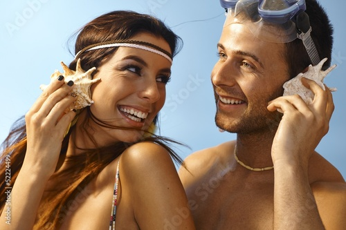 Closeup summer portrait of loving couple