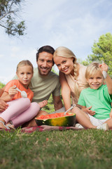 Young attractive family having watermelon at a picnic portrait