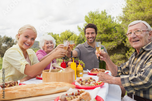 Portrait of family toasting each other at lunch outside