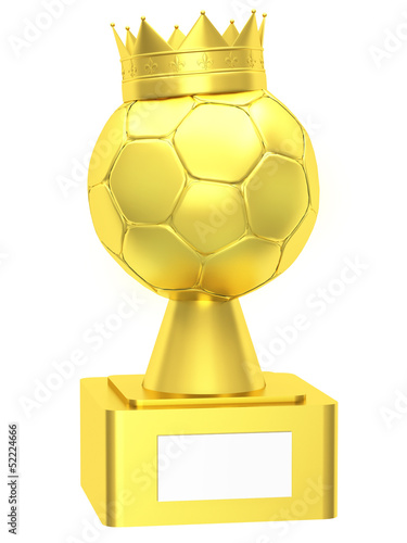 Golden cup with soccer balls