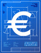 Euro sign like project drawing. Money symbol on blueprint paper