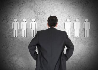 Businessman choosing employees conceptually
