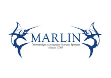 Logo Marlin, logotyp miecznik